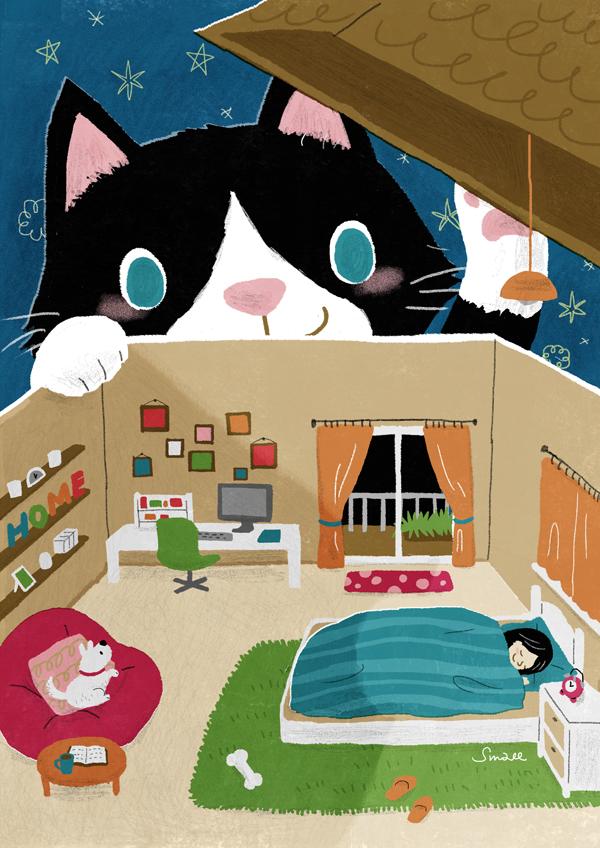 小房子二月份DM插圖 夜裡來訪的貓